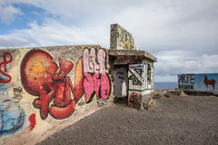 在Las Teresitas特内里费岛-西班牙2016年10月的观点的街道画, 26 图库摄影