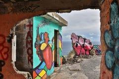在Las Teresitas特内里费岛-西班牙2016年10月的观点的街道画, 26 库存图片