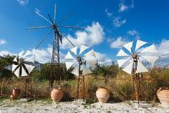 在Lassithi高原的风车  库存图片