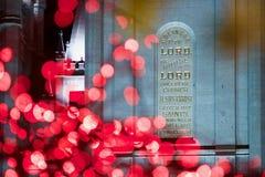 在LDS摩门教堂的题字在圣诞节时间在盐湖城 库存照片