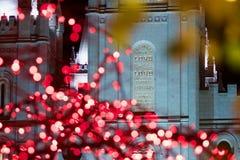 在LDS摩门教堂的题字在圣诞节时间在盐湖城 免版税库存图片