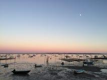 在Le佳能Oyster村庄,盖帽白鼬半岛, Bassin d&#x27的平安的黄昏; 阿尔雄,吉伦特省,南西部法国 库存图片