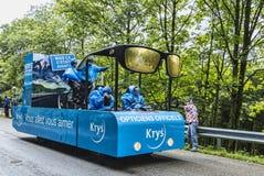 在Le环法自行车赛路的Krys车  免版税图库摄影