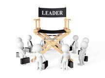 在Leader Chair主任附近的3d Businessmans 免版税库存照片
