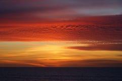 在Leca da Palmeira海滩的日落 免版税库存照片