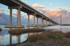 在Leeville的桥梁 免版税库存照片