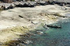 在Lembata印度尼西亚海岛上的Lamalera  免版税库存照片