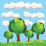 在lendscape的传染媒介低多树 免版税库存照片