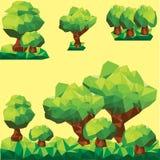 在lendscape的传染媒介低多树 免版税图库摄影