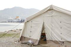 在Lesvos的难民营 免版税库存照片
