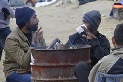 在Lesvos的难民营Moria 库存照片