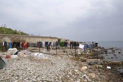在Lesvos的Refugeescamp Moria 图库摄影
