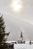 在Leukerbad,瑞士的高耸 免版税库存图片
