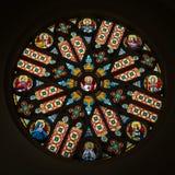 在Levoca,斯洛伐克大教堂的五颜六色的玫瑰华饰  库存照片