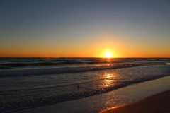 在Lido海滩的日落 免版税图库摄影