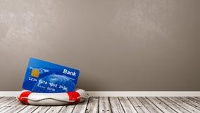 在Lifebuoy的银行卡在屋子里 库存例证