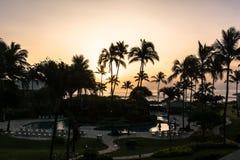 在Lihue,考艾岛,夏威夷的日出 免版税库存照片