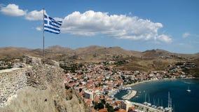 在Limnos希腊海岛上的Myrina港口城市  库存照片