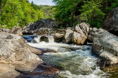 在Linville河的急流 免版税库存图片