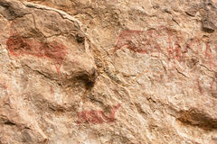 在Liphofung洞的岩石艺术 免版税库存照片