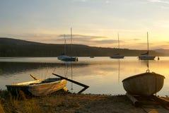 在Lipno水坝的日落 免版税库存图片