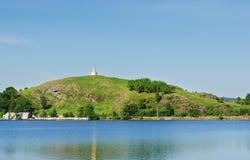 在Lisjya山-市的标志的塔Nizh 库存照片