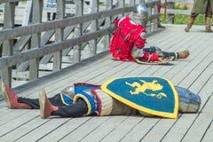 在Livonian城堡的中世纪节日 库存照片