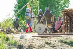 在Livonian城堡的中世纪节日 免版税库存照片