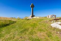 在Llanddwyn海岛, Anglesey上的凯尔特十字架 库存照片