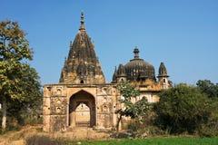 在lndia的森林放弃的老印度寺庙 免版税库存图片