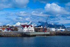 在Lofoten海岛上的镇Svolvaer 免版税库存照片