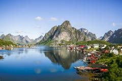 在Lofoten海岛上的雷讷在挪威 免版税库存图片