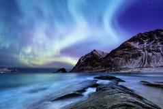 在Lofoten海岛,挪威上的极光borealis 在山上的绿色北极光 与极光的夜空 库存照片
