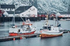 在Lofoten海岛,挪威上的Hamnoy渔村 库存图片