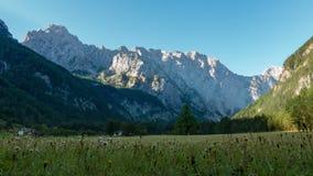 在Logarska dolina,在山的卢格尔省谷,斯洛文尼亚的日出 股票视频