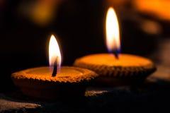 在Loi Krathong节日的蜡烛 免版税库存照片