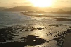 在Lombok海岛南部的日落  图库摄影