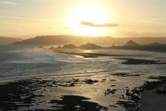 在Lombok海岛南部的日落  库存照片