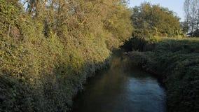 在Lomellina的灌渠的桥梁在日落的 股票视频