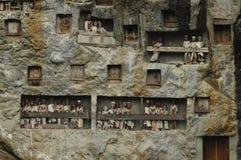 在Lomo晃动坟茔在塔娜Toraja地区在苏拉威西岛 库存照片