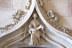 在Lonja de la seda的雕塑,在谷的历史建筑 图库摄影