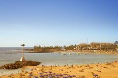 在Los Cristianos,特内里费岛,西班牙的Playa de Las Vistas海滩 库存照片
