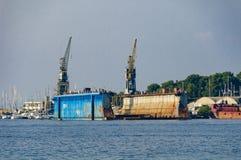 在Losinj,克罗地亚海岛上的造船厂,管理Losinjska 库存照片