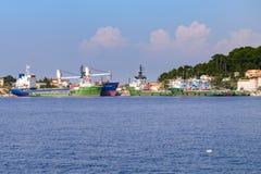 在Losinj,克罗地亚海岛上的造船厂,管理Losinjska 免版税库存照片