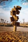 在Love湖迪拜的人造木鸟巢 库存图片