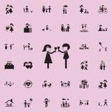 在loveicon的夫妇 网和机动性的家庭象全集 库存例证