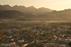 在Luang Prabang的日落 免版税库存照片