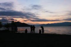 在lugu湖的早晨黎明 图库摄影