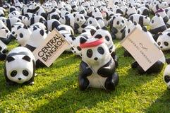 在Lumpini公园的熊猫flashmob 免版税图库摄影