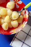 在lychee菠萝里面的点心 库存照片